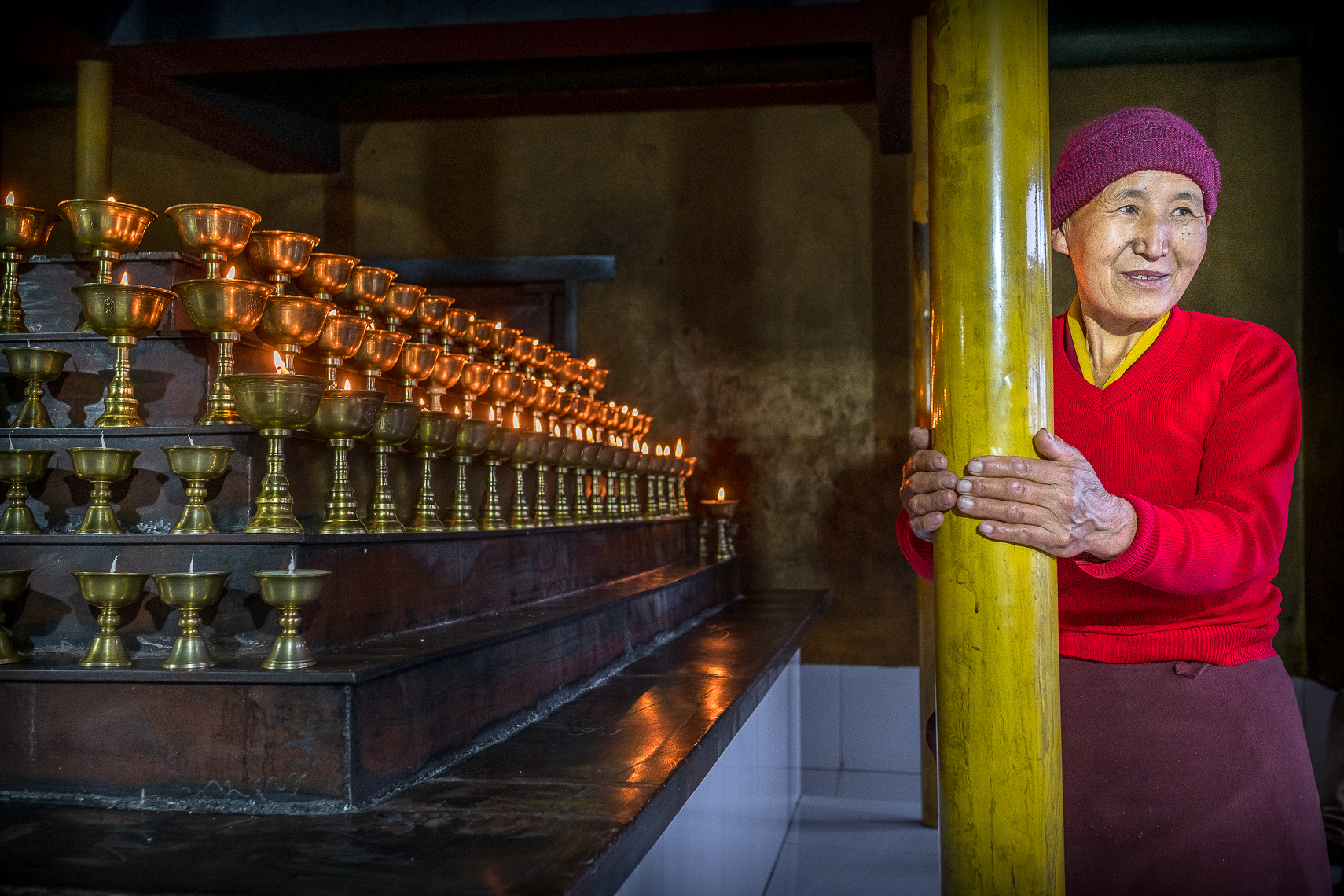 BUTTER LAMPS, THUPTEN CHOLING MONASTERY, SOLU