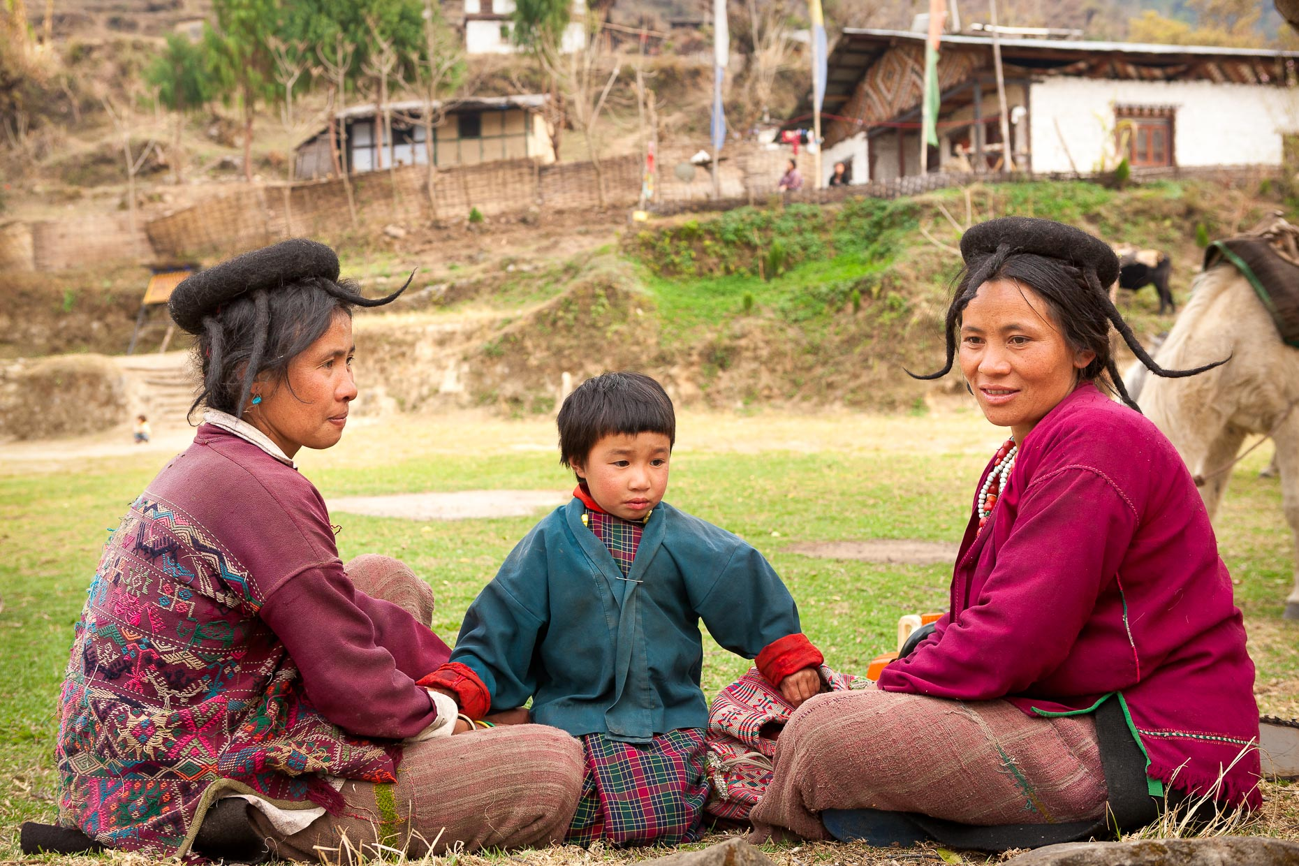 Sisters, on the trail to Sakteng, eastern Bhutan
