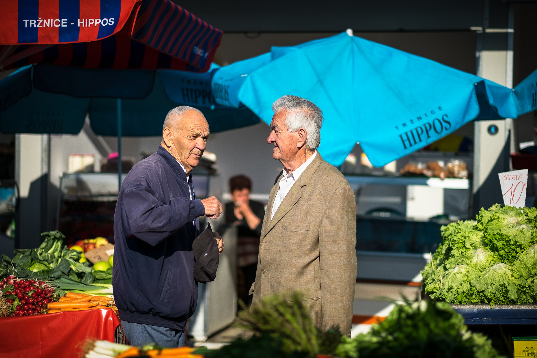 Good friends at the morning market, Split, Croatia