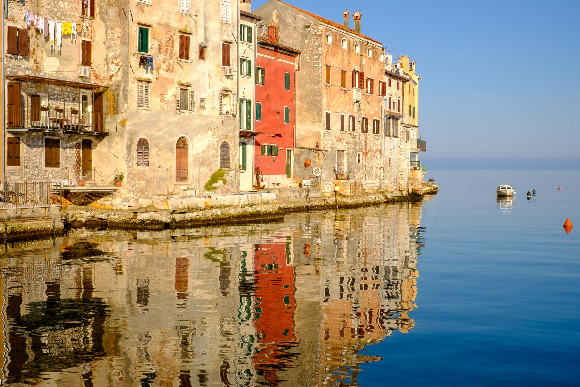 Building reflection at Rovinj, Croatia