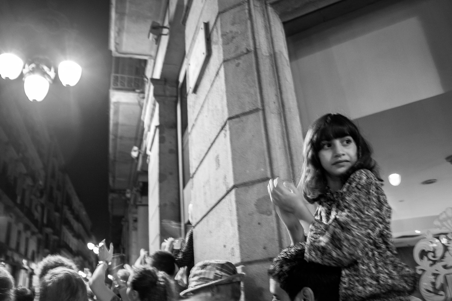 EYoung girl at festival, Gothic Quarter, Barcelona, Spain