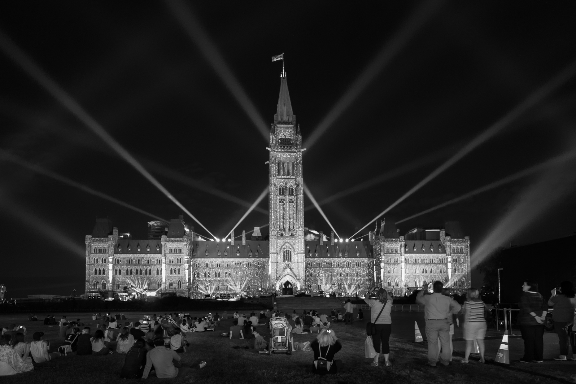 Light Show on Parliament Building, Ottawa, Ontario, Canada